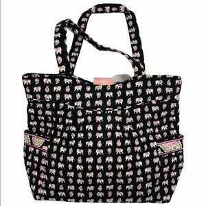 Vera Bradley PINK ELEPHANTS Pleated Tote Bag NWT